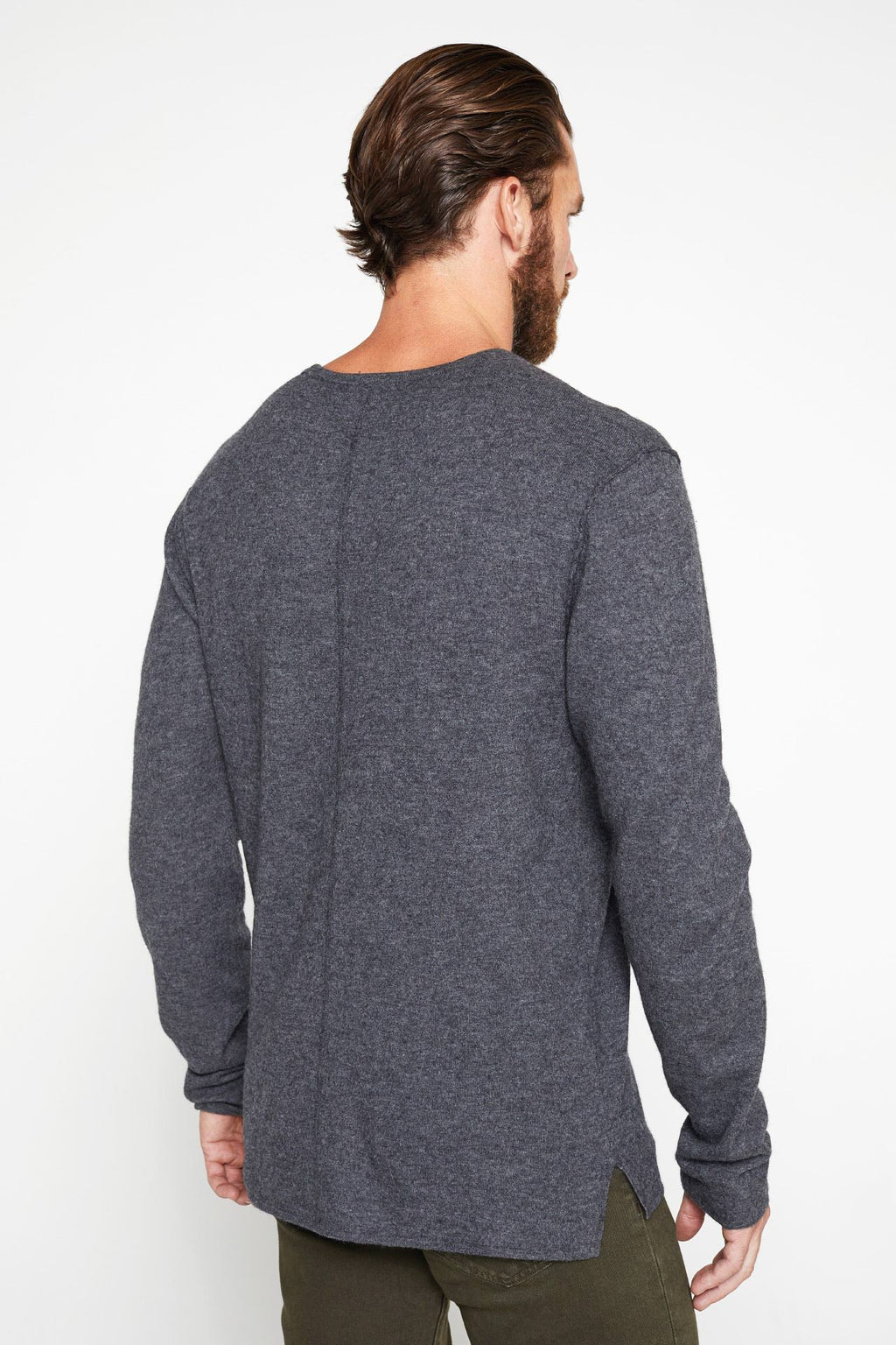 The Emmett Sweater in Charcoal_Back View