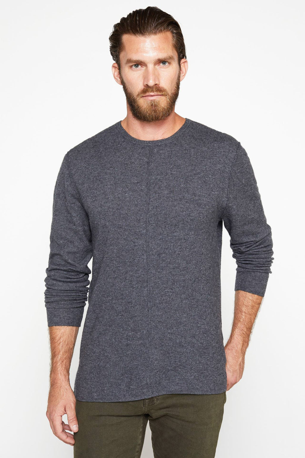 The Emmett Sweater in Charcoal_Front View Sleeve