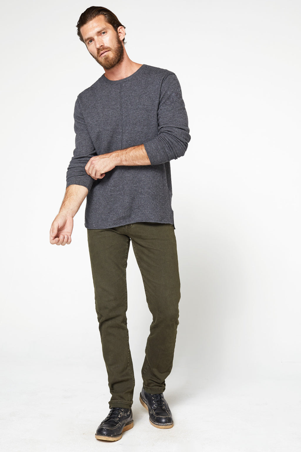 The Emmett Sweater in Charcoal_Head to Toe