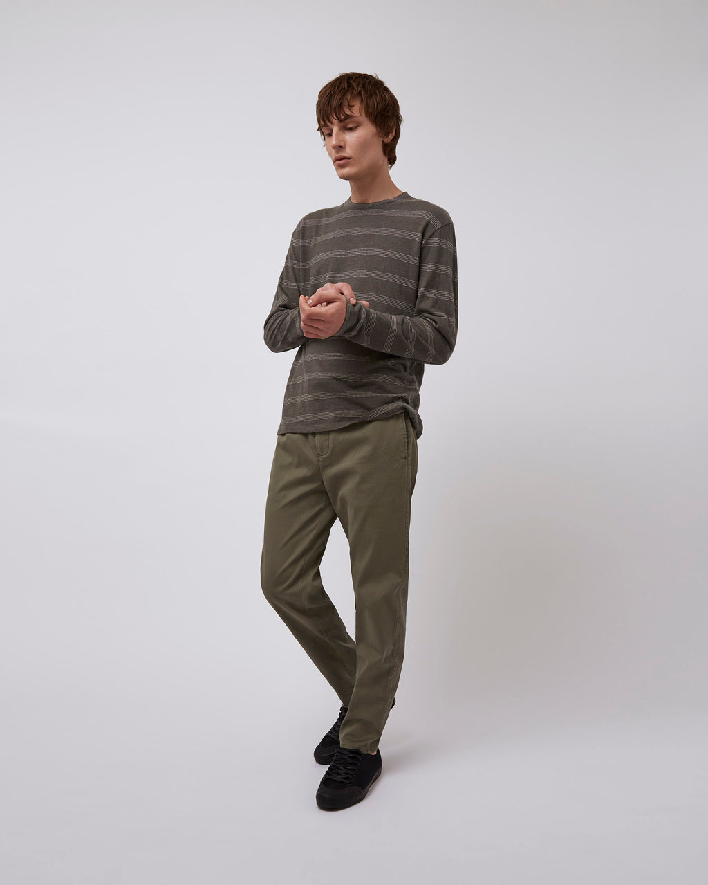 The Atman Tee in Charcoal Ticking Stripe
