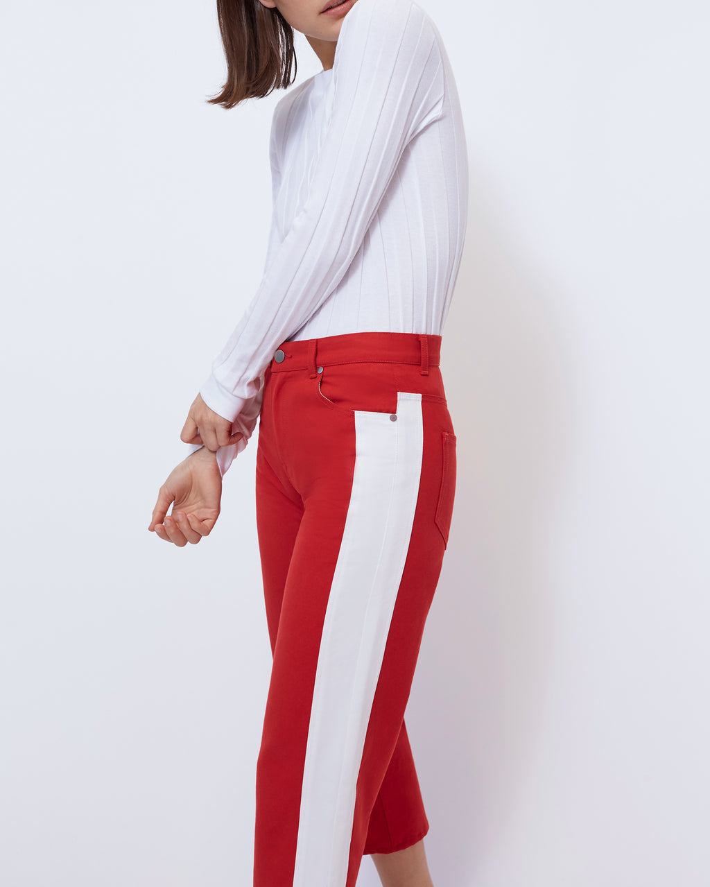 The Cropped Wide Leg in Scarlet