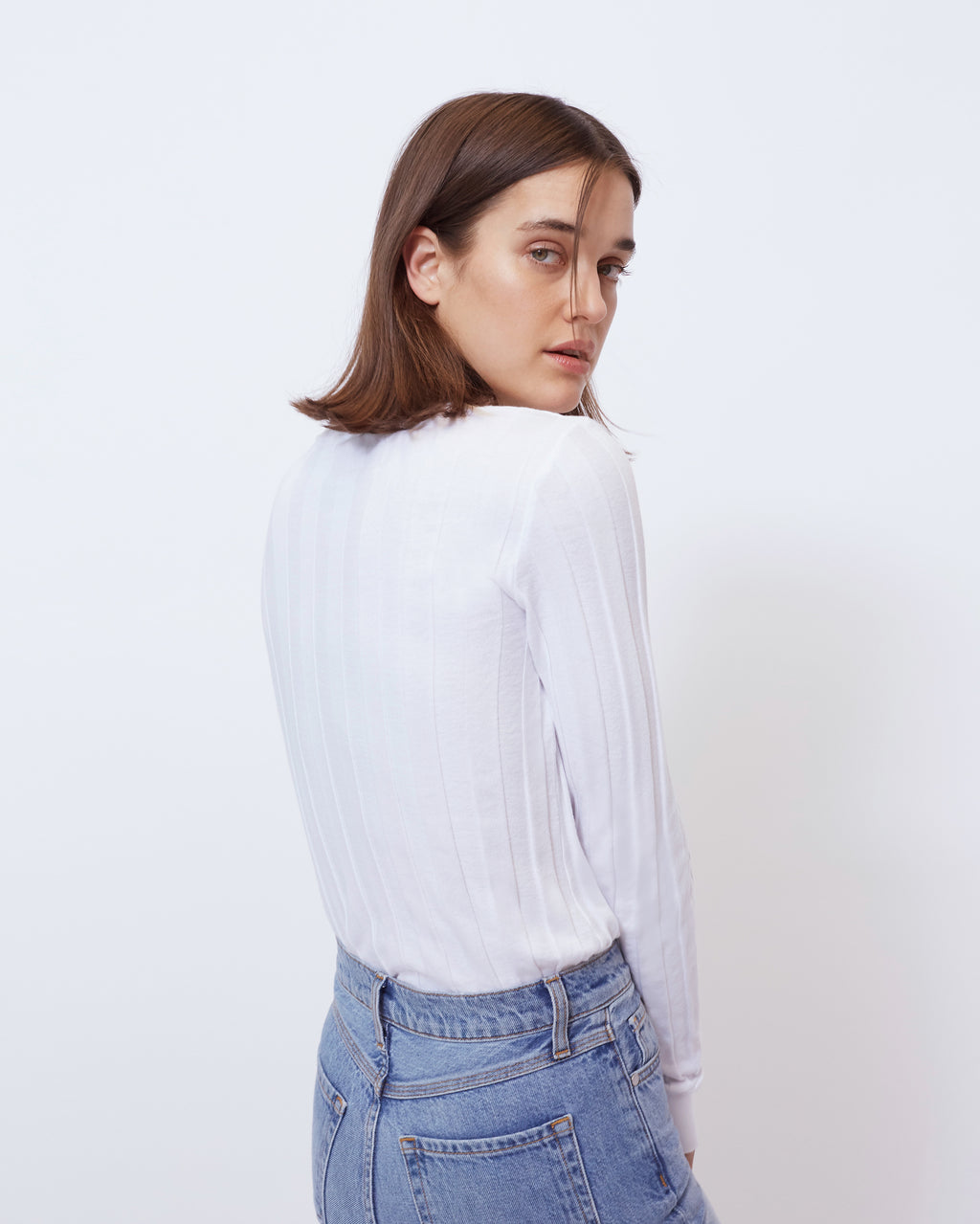 The Clover Top in Optic White