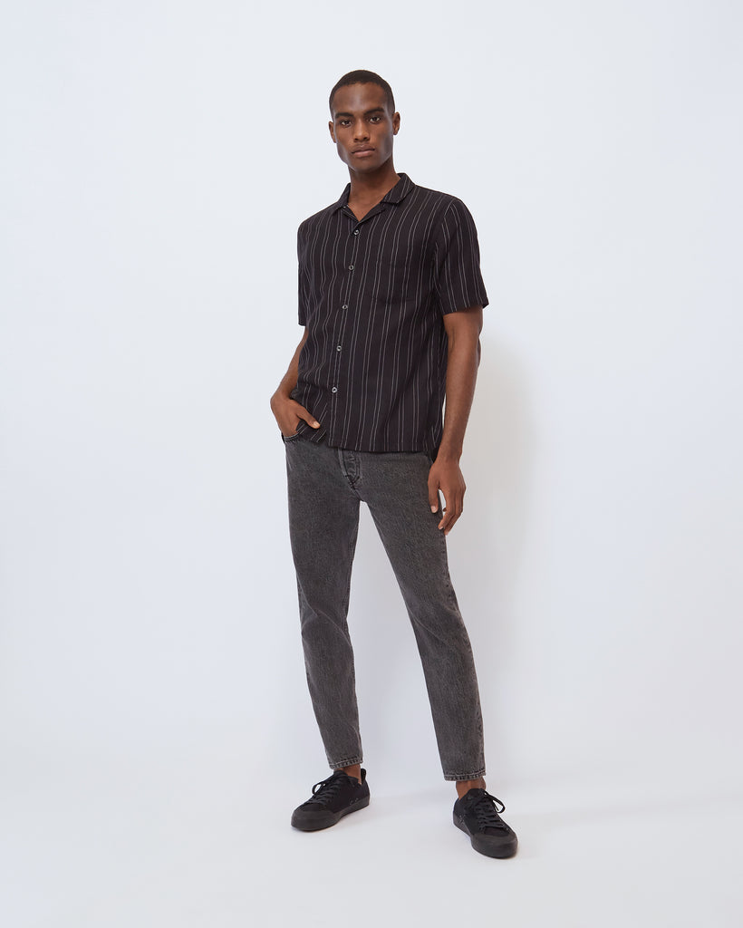 The Cabus Shirt in Black/White Stripe
