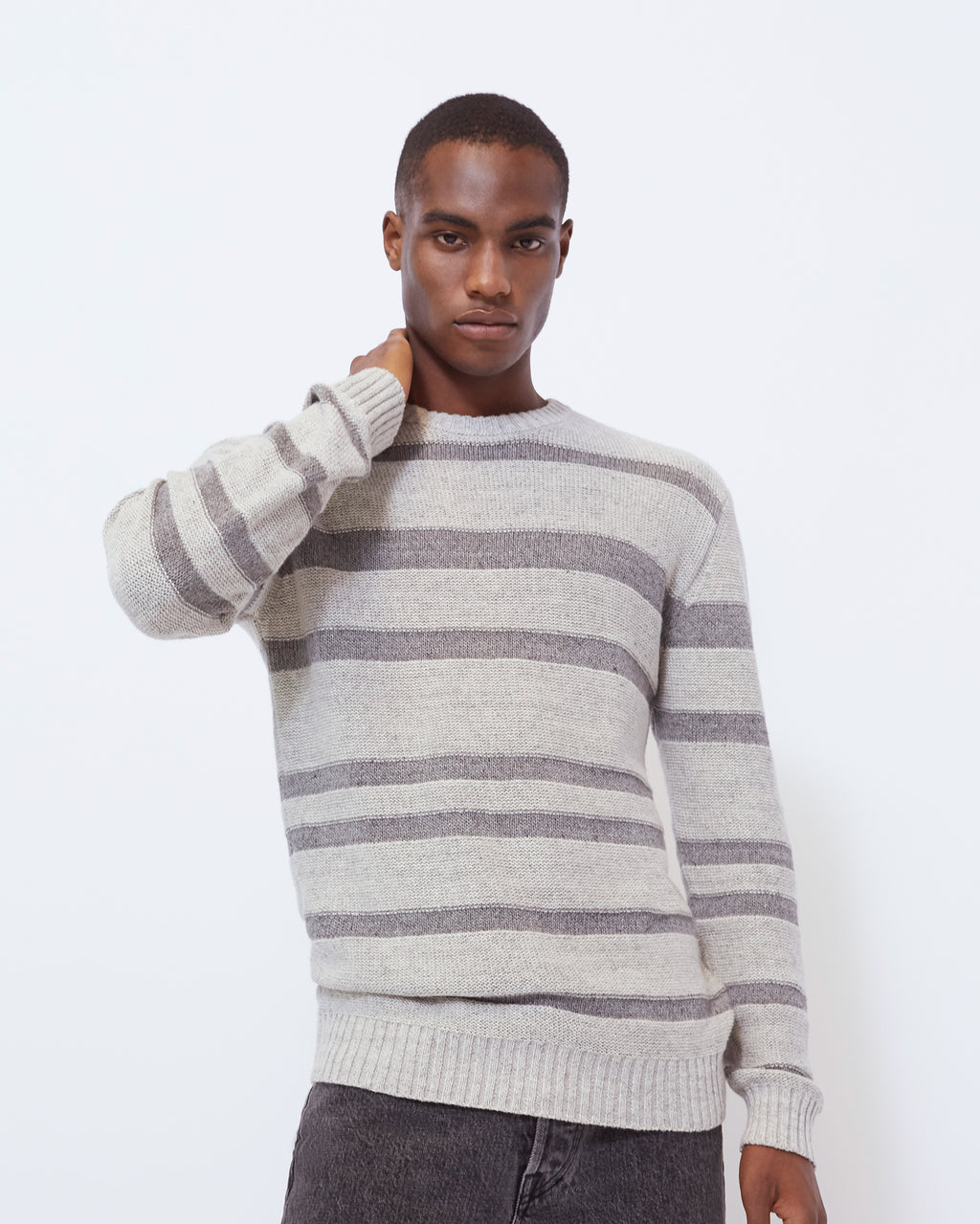 The Gilpin Sweater in Light Grey Mélange Stripe