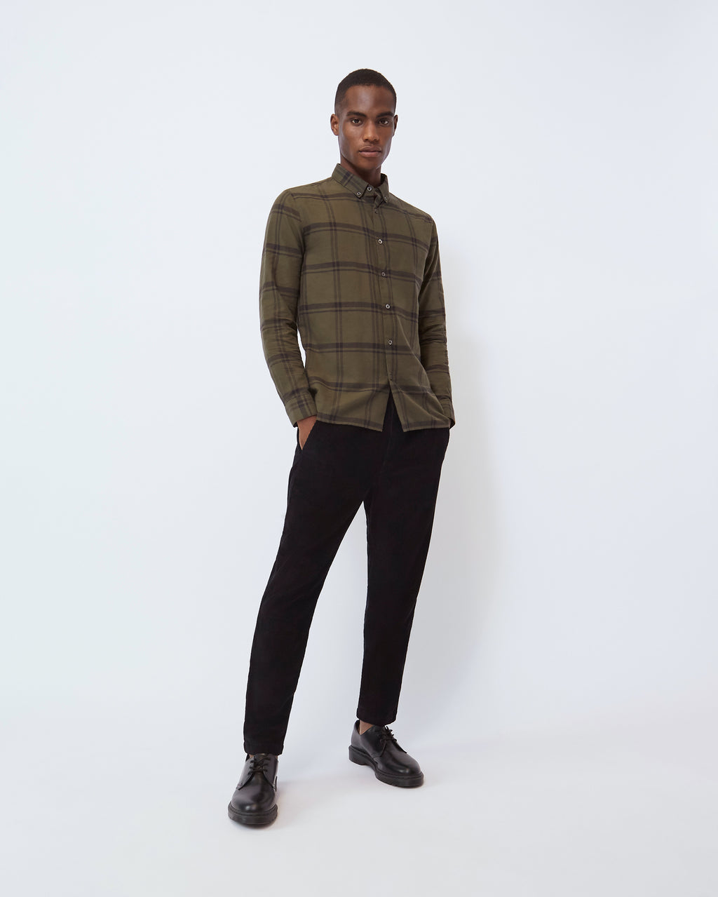 The Davis Button-Down in Olive Plaid