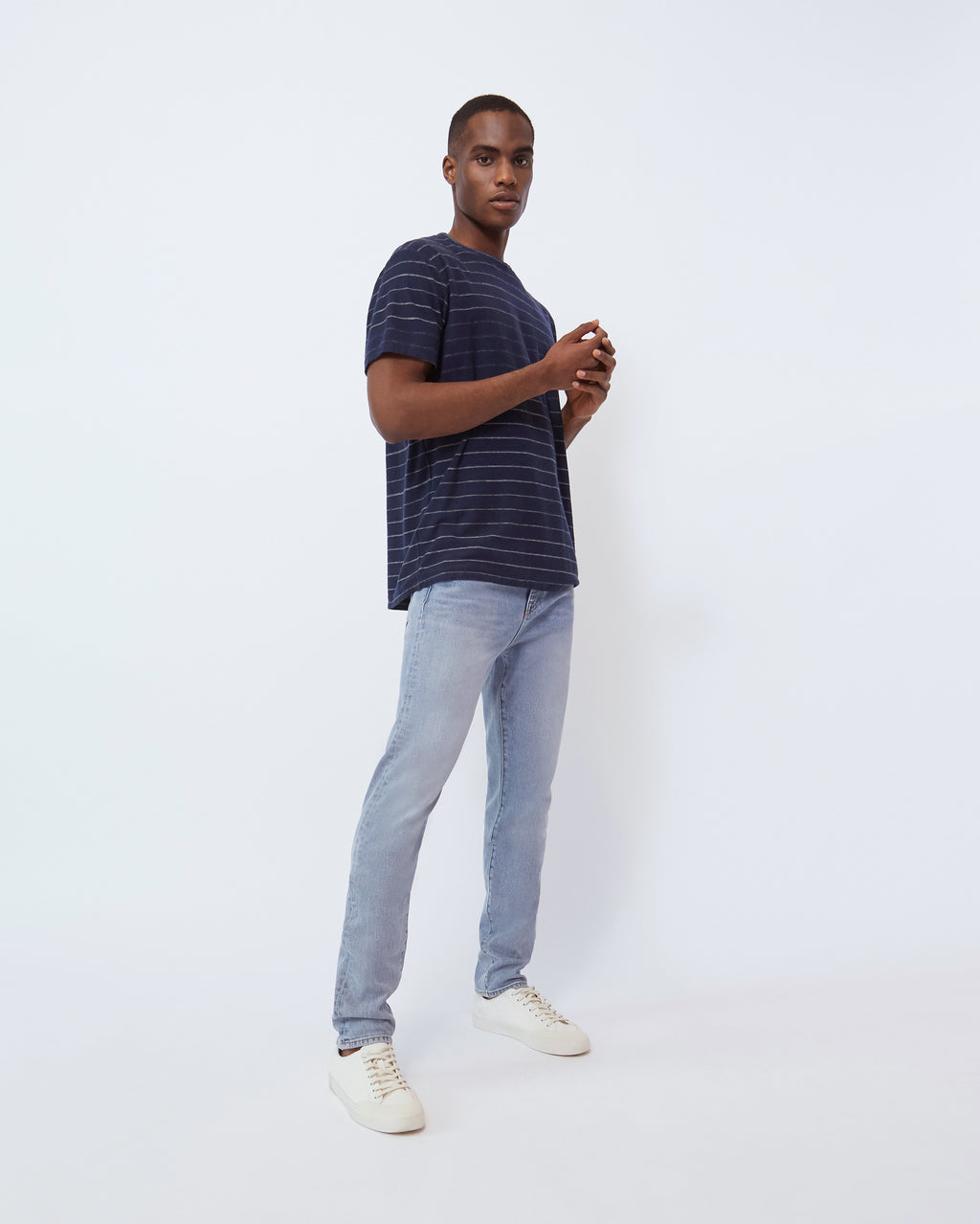 The Bray Tee in Navy Slub Stripe
