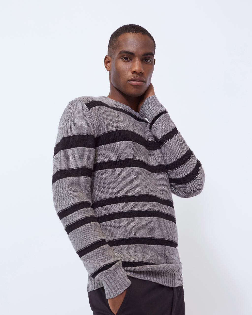 The Gilpin Sweater in Black Mélange Stripe