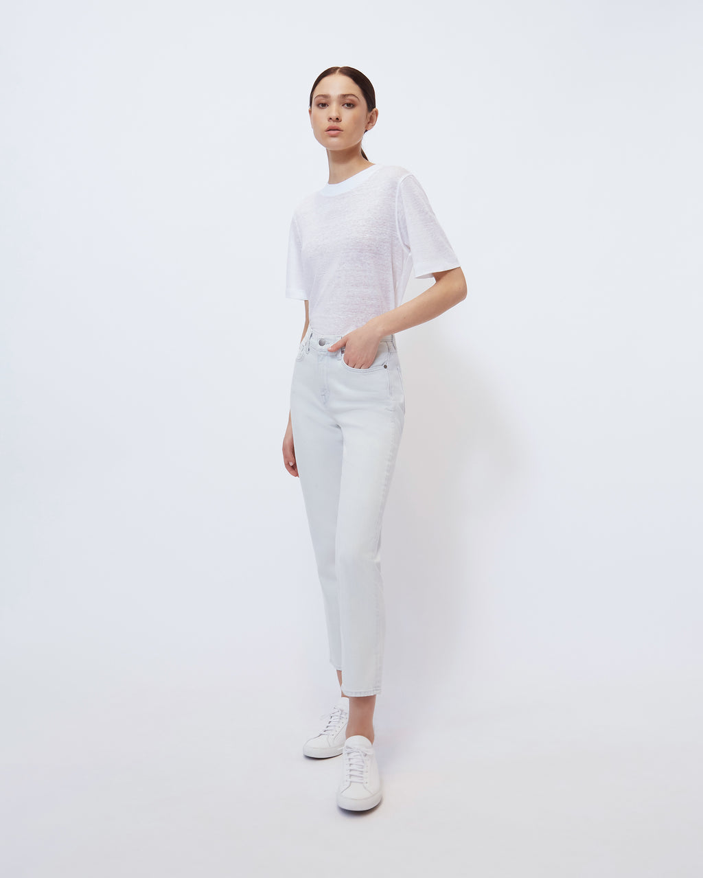 The Iris Tee in Optic White Linen
