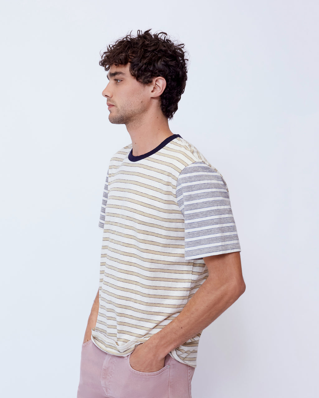 The Sola Tee in Beige Stripe