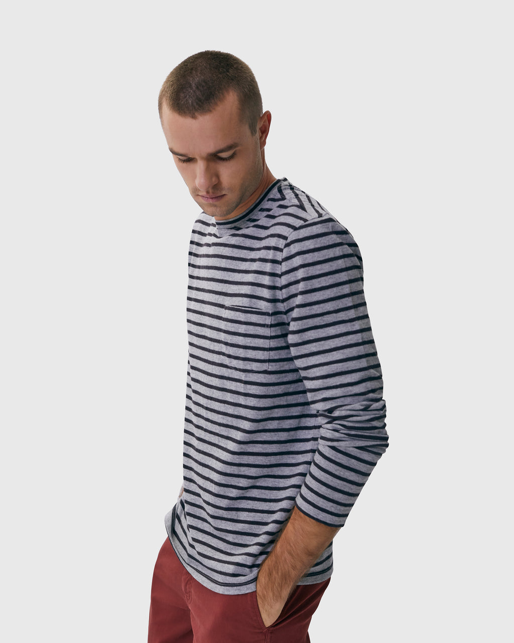 The Mesa Tee in Heather Grey/Black Stripe