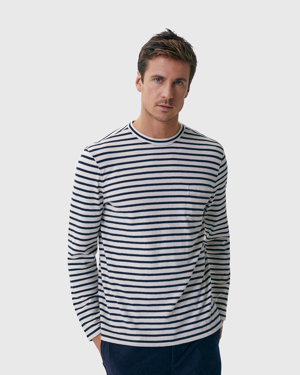 The Mesa Tee in White/Black Stripe