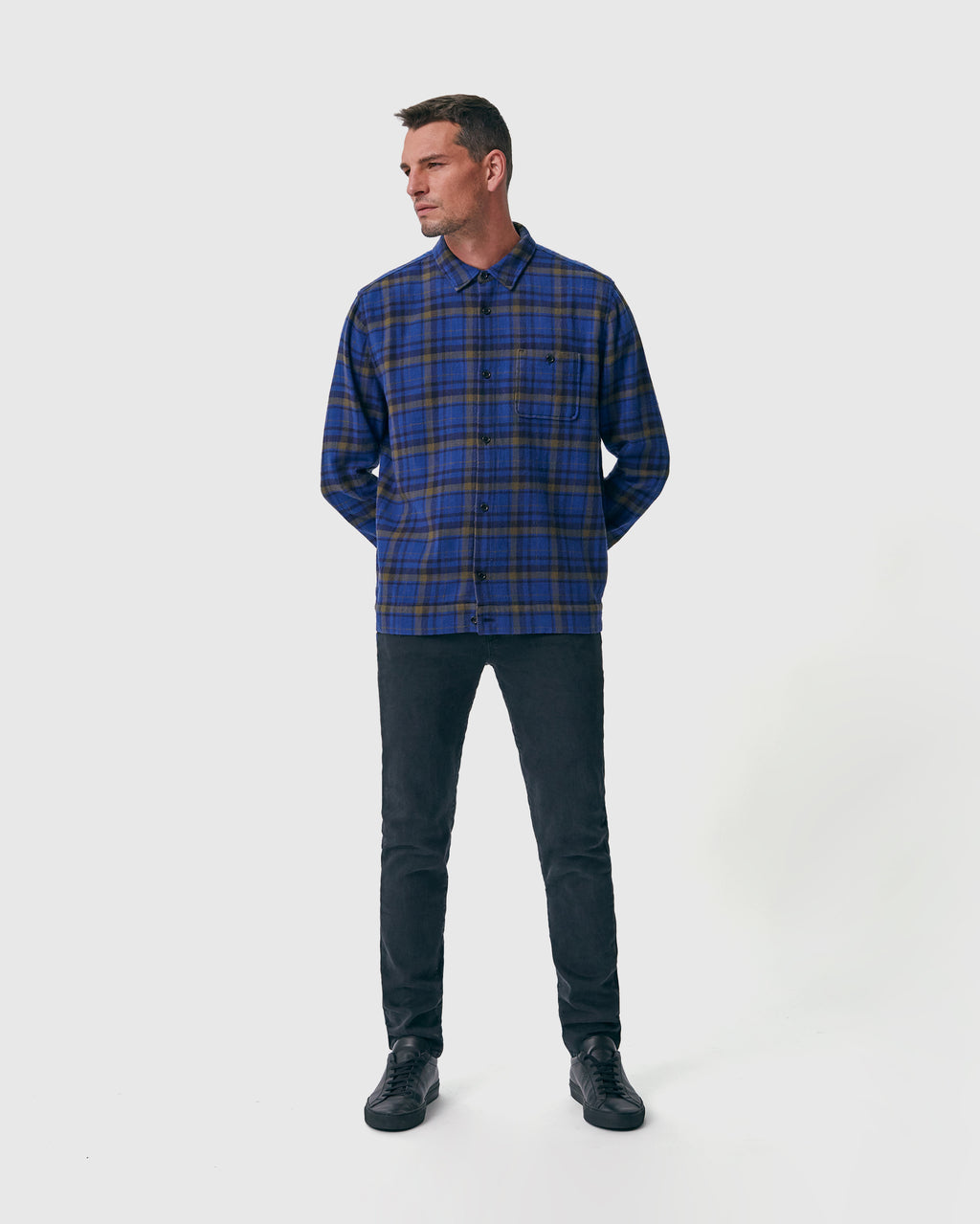 The Dodd Shirt in Indigo Plaid