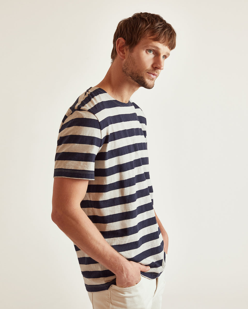 The Adam Tee in Navy Stripe