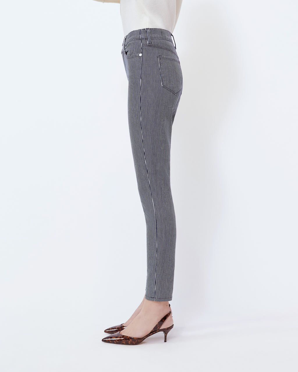 The Ultra High Rise Skinny Jean In Navy/ Optic White