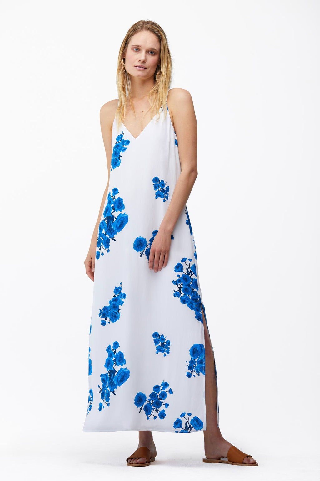 The Frida Dress in Blue Floral