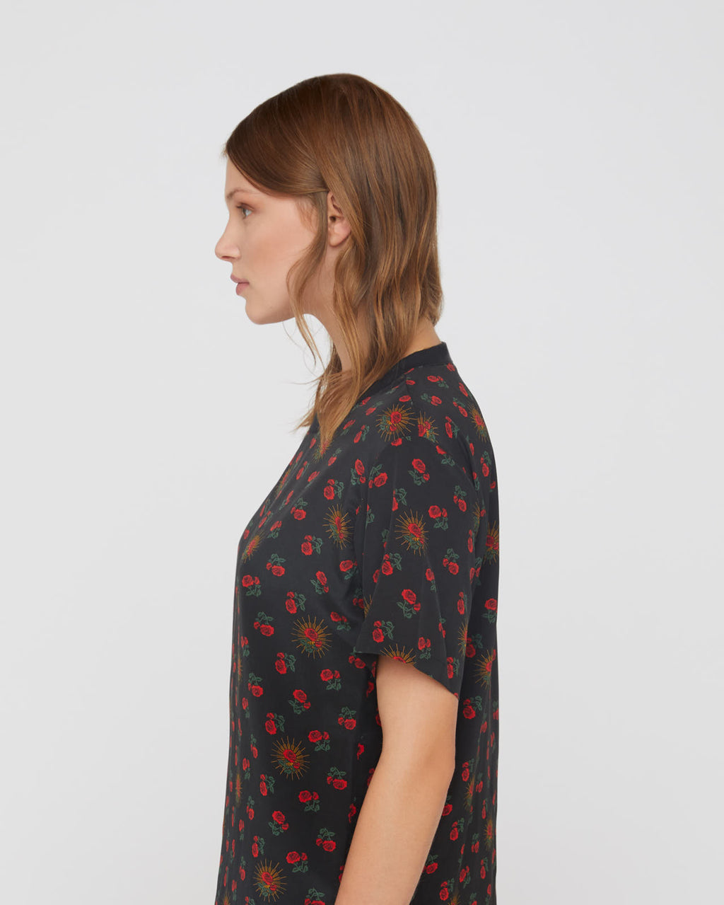 The Myra Shirt in Red Calico Rose