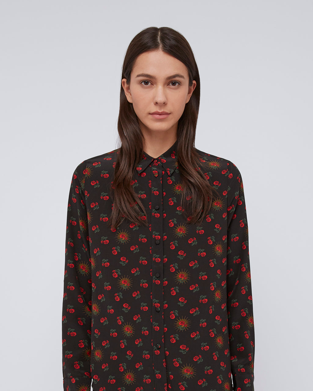 The Nora Shirt in Red Calico Rose