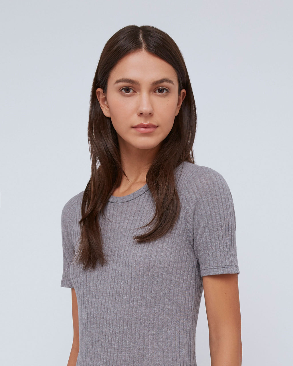 The Sabina Tee in Mist Heather