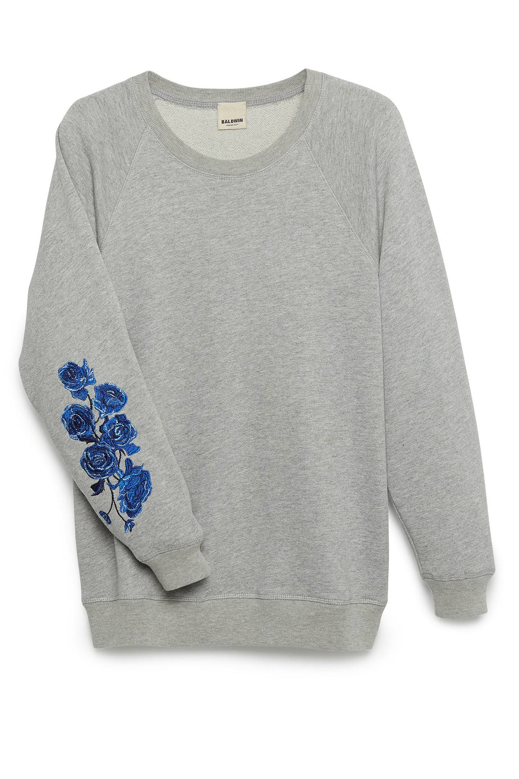 The Taylor Sweatshirt in Heather Grey with Embroidery