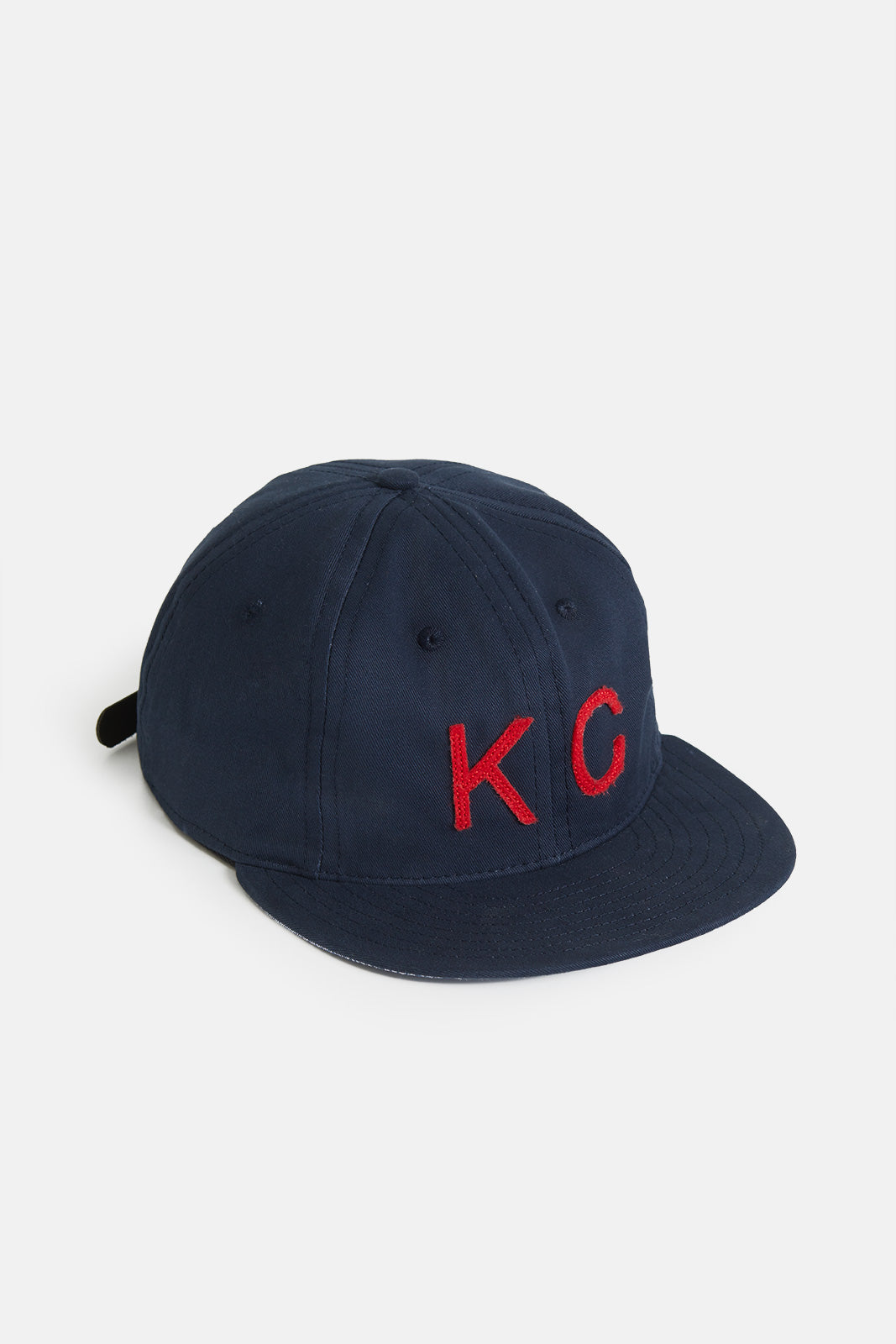 The KC Hat Leather Strapback in Navy/Red