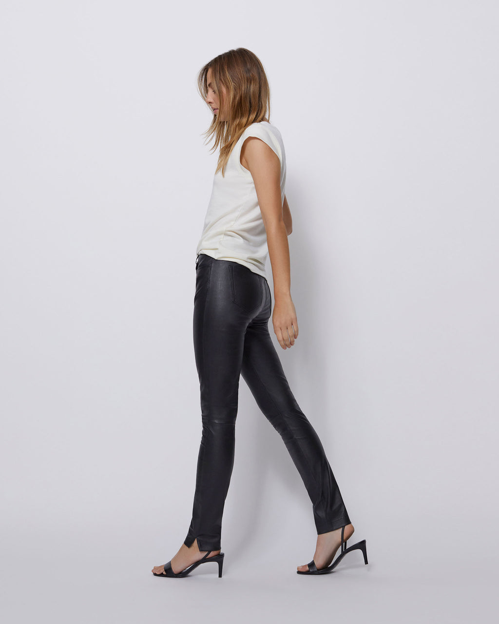The Ultra High Rise Skinny Jean in Black Leather