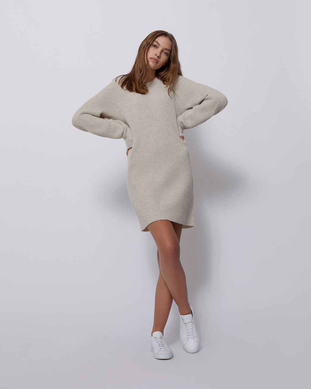 The Micah Dress in Studio Beige