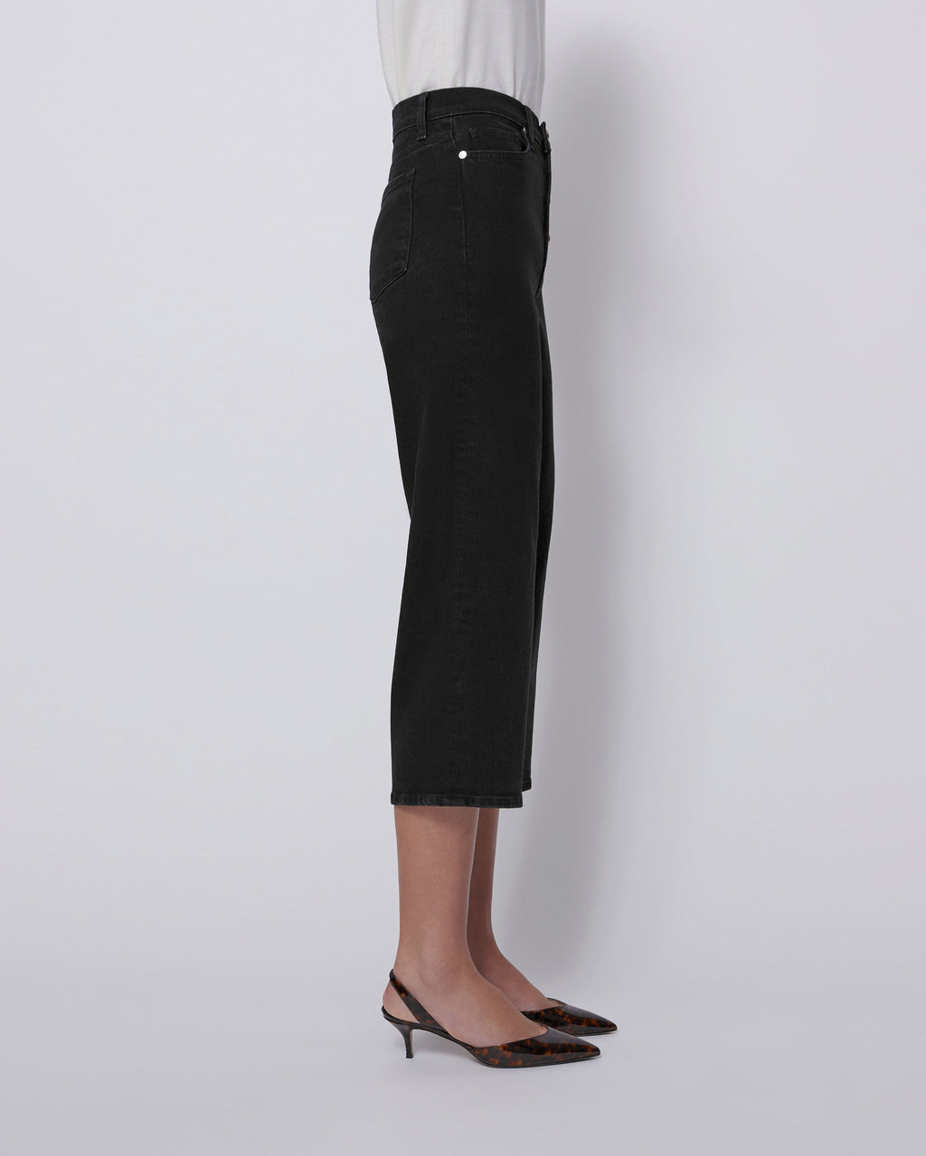 The Cropped Wide Leg Jean in Carbon Black