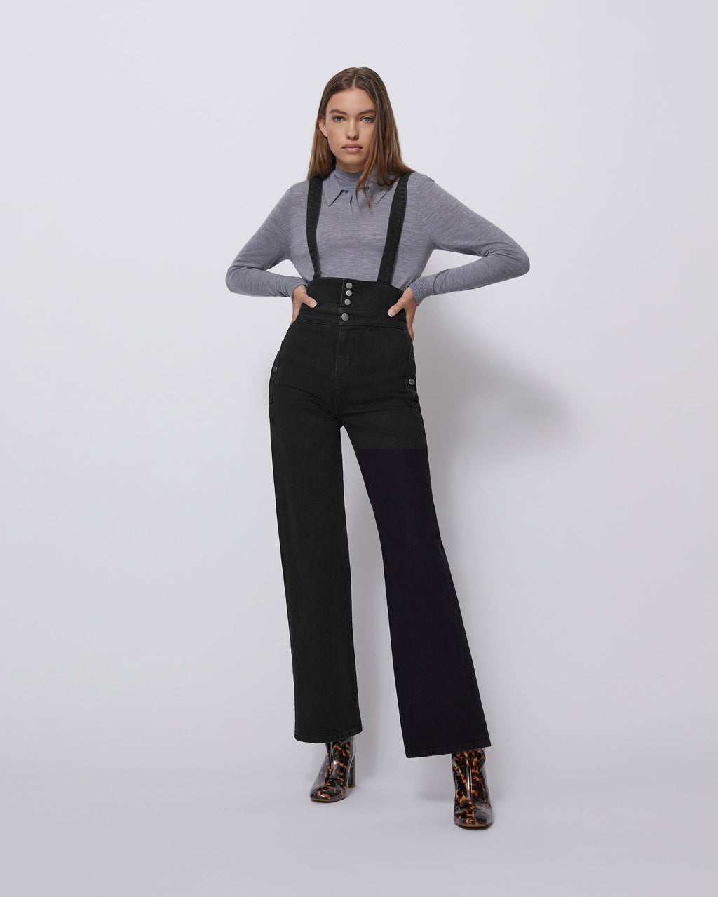 The Faye Trouser Overall in Carbon Black