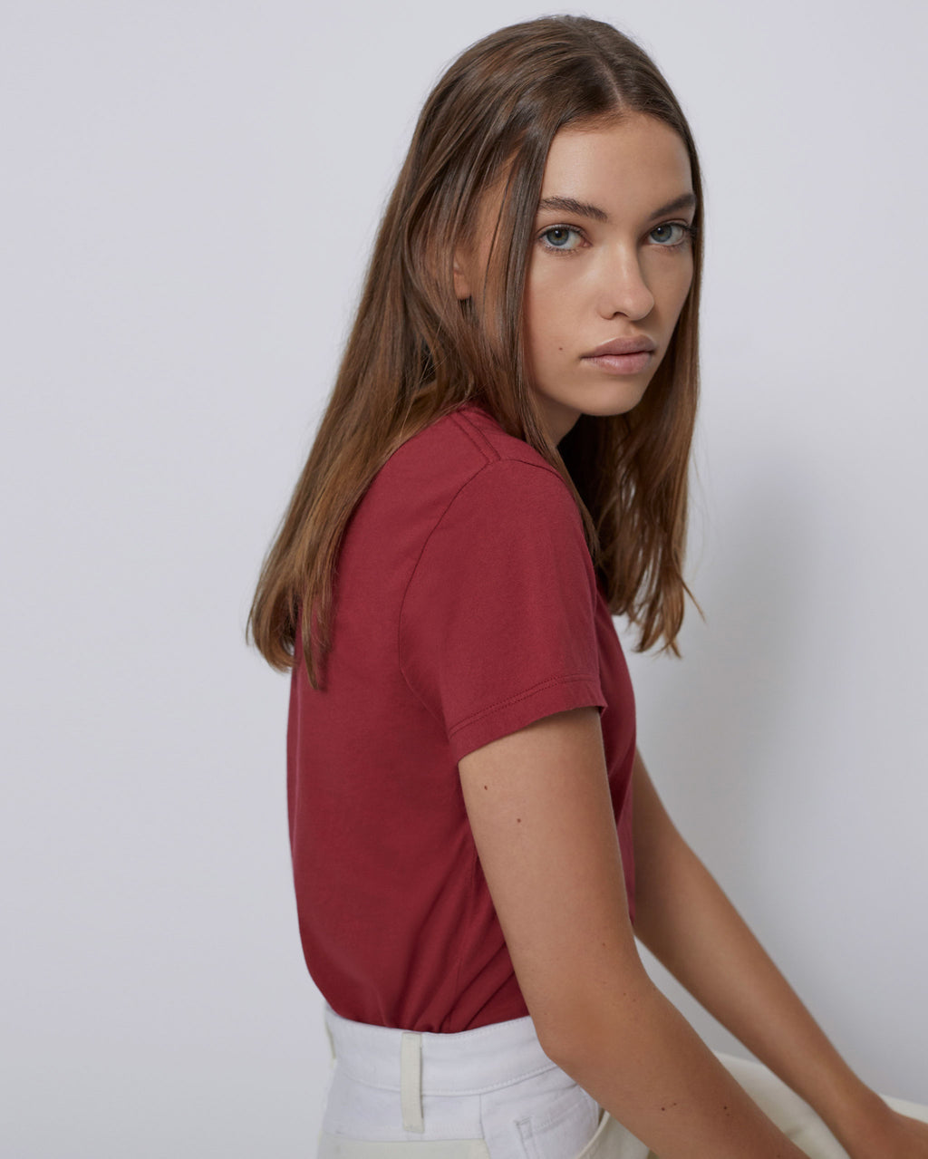 The Perry Tee in Red Velvet