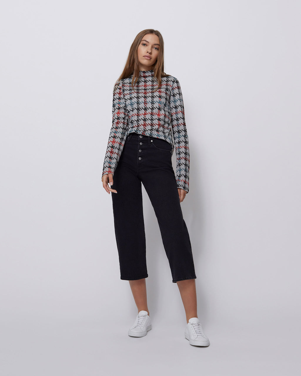 The Blair Top in Houndstooth Multi
