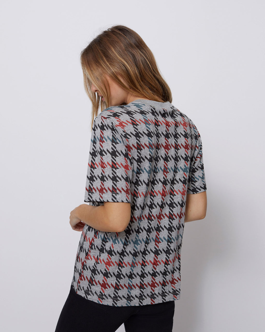 The Iris Tee in Houndstooth Multi