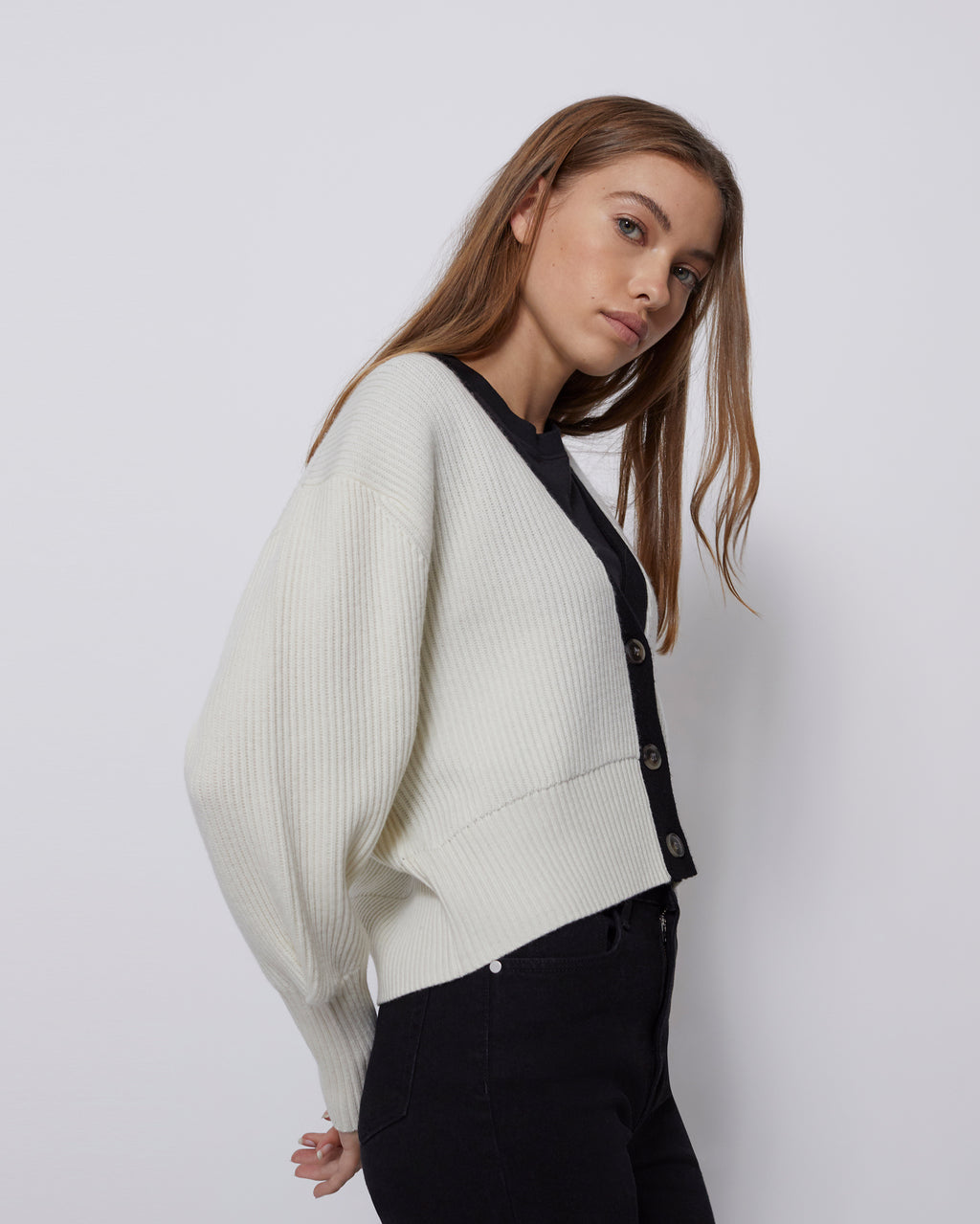 The Sparrow Cardigan in Powder White Multi