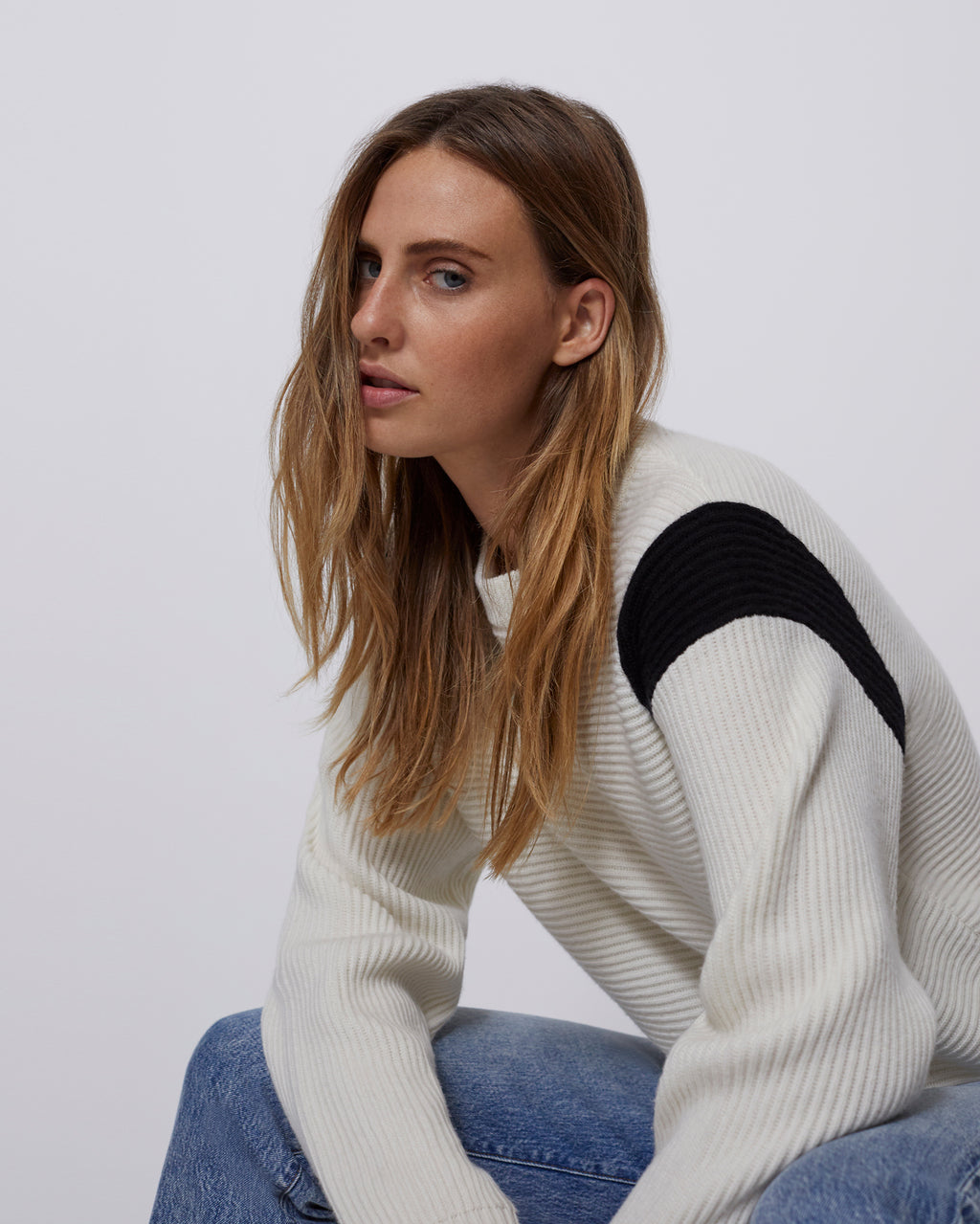 The April Sweater in Powder White/Black