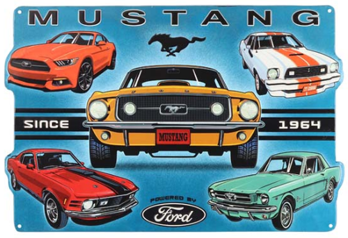 Ford Mustang Since 1964 Collage Embossed Tin Sign