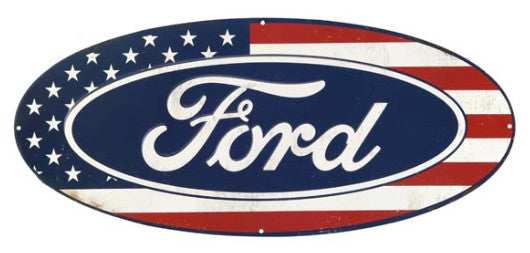 Ford American Flag Oval Tin Sign