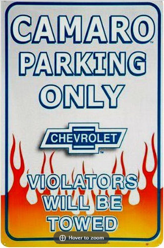 Camaro Parking Sign Large Tin Sign