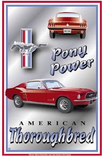 Ford Mustang Pony Power Tin Sign