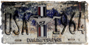 Ford Mustang 1964 License Plate Sign