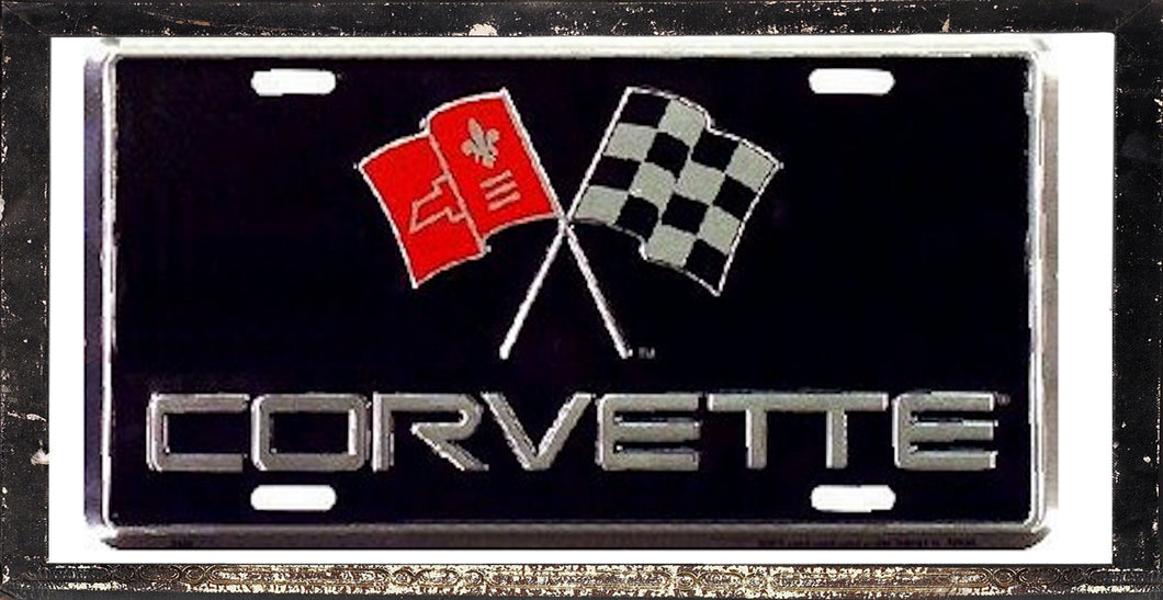 CHEVY CORVETTE LICENSE PLATE ALUMINUM STAMPED EMBOSSED METAL