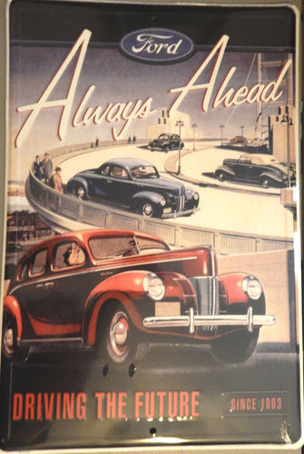 1940s Ford Always Ahead Large Tin Sign
