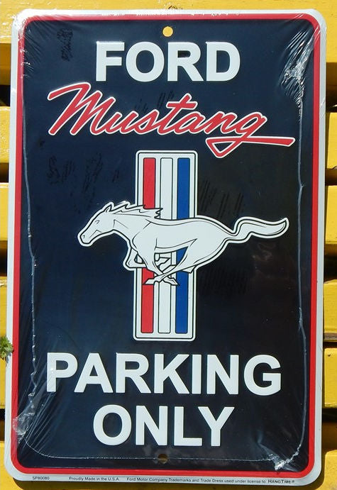 Ford Mustang Parking Only Black Sign