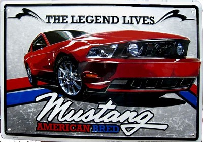 FORD MUSTANG AMERICAN BRED SIGN LARGE TIN SIGN
