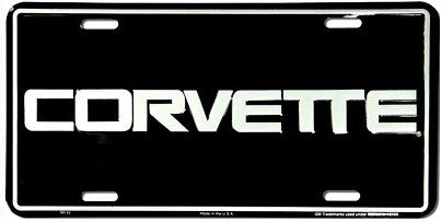 Chevy Corvette Black License Plate