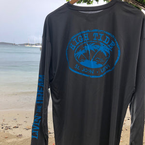 HIGH TIDE LOGO LONG SLEEVE PERFORMANCE GRAPHITE SHIRT