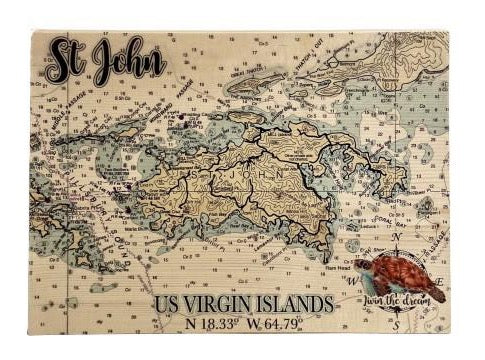 SOLID WOODEN MAP WITH COORDINATES & SEA TURTLE