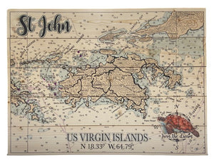 PLANK WOODEN MAP WITH COORDINATES & SEA TURTLE
