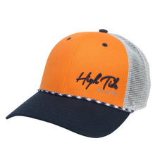 Load image into Gallery viewer, HIGH TIDE MID PRO SLANT SCRIPT TRUCKER HAT