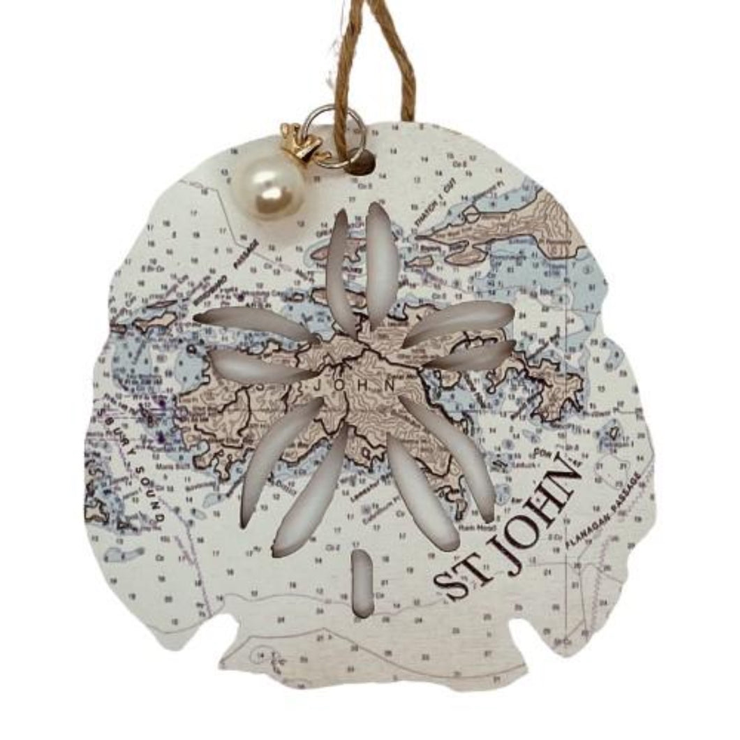 SAND DOLLAR WOODEN MAP ORNAMENT