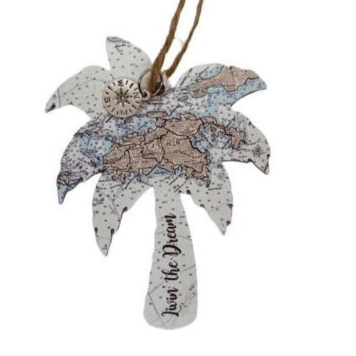 PALM TREE WOODEN MAP ORNAMENT