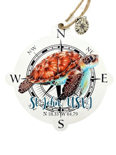 TURTLE COMPASS WOODEN MAP ORNAMENT